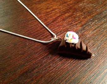 Chocolate Fudge Cake Charm Necklace