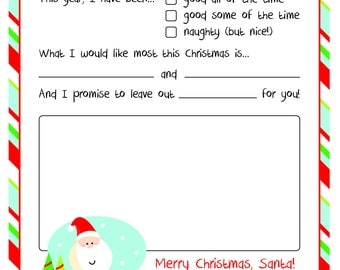 Dear santa etsy for Dear santa template kindergarten letter