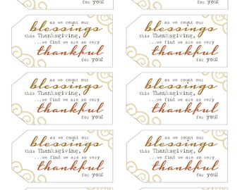 Thanksgiving Gift tags // Blessing gift tags // Thankful gift tags