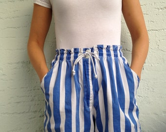 Shorts with blue and white stripes