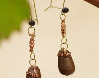 Copper wire and seed earrings