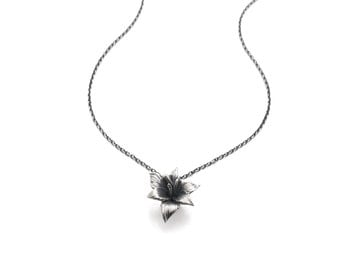 Lily pendant - Flower pendant, flower necklace, 925 silver, sterling silver