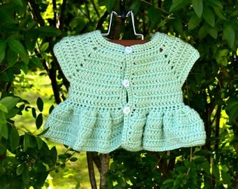 Crochet Ruffled Cardigan Sweater