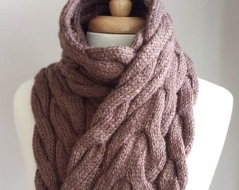 Hand Knit Scarf. Cable Knit Scarf. Chunky Scarf. Colourful Scarf in Brown.