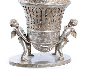 2 Cupids hold basket vase
