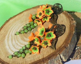 Floral Long Earrings / Cluster earrings flowers handmade polymer clay Earrings orange green flowers gradient colors Jewelry orange earrings