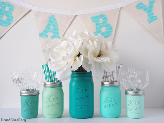 boy baby shower centerpiece vase mason jars blue emerald mint green
