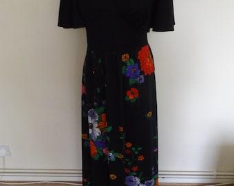 vintage 70s maxi dress floral hippie boho 10 12