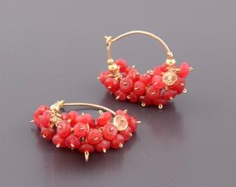 Cluster Earrings, Red Jade Hoop Earrings, Red Cluster Earrings, Gemstone Earrings, Gold Hoop Earrings, Red Earrings