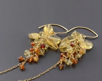 Cluster earrings, waterfall earrings, long earrings, yellow stone earrings, statement earrings, Citrine earrings