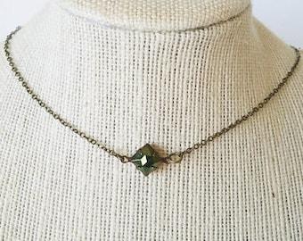 Beetle Choker - Iris Green Glass Stone On Antique Bronze Chain