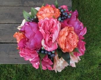 Rustic Bouquet, Peony Bouquet, Rose Bouquet, Silk Bridal Bouquet, Coral Bouquet, Pink Bouqet, Blueberry Bouquet, Wedding Bouquet