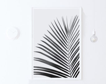Palm PRINTABLE ART Black and White Palm Leaf Print DOWNLOAD Digital Print, Large Wall Art Photography, Minimalist Art, Black and White Print