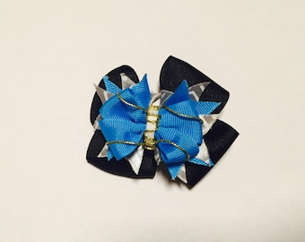 Black Bow with Grey Chevron and Blue Detail