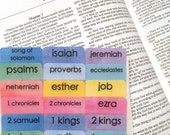 "STANDARD Customizable ""Watercolors"" Books of Bible Tabs with Adhesive, Bible Journaling, English & Spanish Bible"