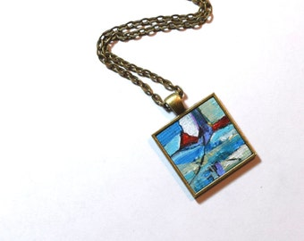Art Necklace ~ Original Painting Pendant - Wearable Art - Red and Turquoise Blue Abstract Necklace - Abstract Landscape Handpainted Pendant