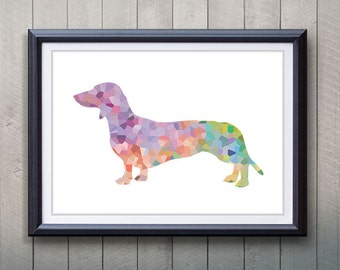 Dachshund Silhouette Print - Home Living - Animal Painting - Dog Silhouette Poster - Wall Decor - Home Decor, House Warming Gifts
