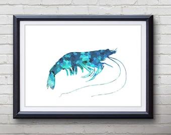 Blue Prawn Ocean Animal Print - Home Living - Prawn Painting - Prawn Wall Art - Wall Decor - Home Decor, House Warming Gifts
