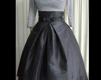 Stunning Black Taffeta 50's Inspired High-Waisted Skirt