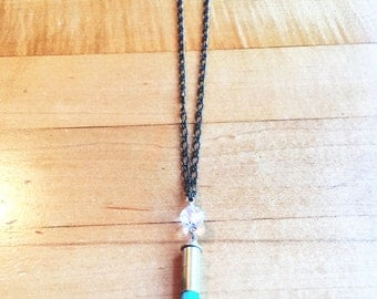 Beachy .22 Tassel Necklace- Light Turquoise with Clear Crystal