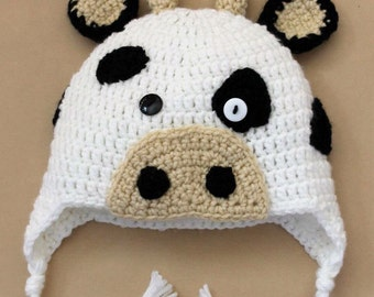 Crochet Cow Hat. All sizes and different styles available!