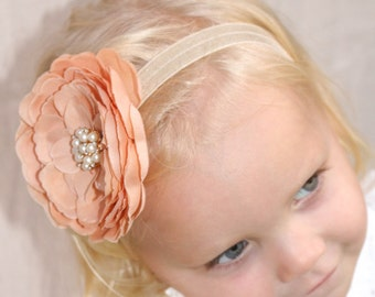 Baby girl petal flower head band with pearls, Thanksgiving/Fall