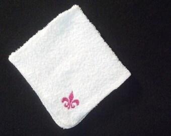 Hot Pink Fleur de Lis Washcloths