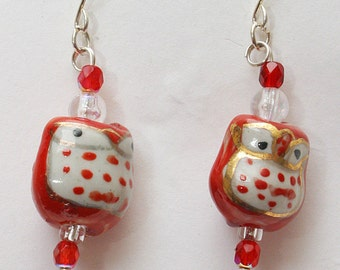 Japanese Collection: Red Hot Owl Earrings