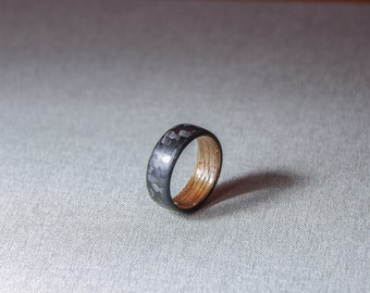StarDust with Walnut wood inlay. Carbon fiber ring. (1 ring)