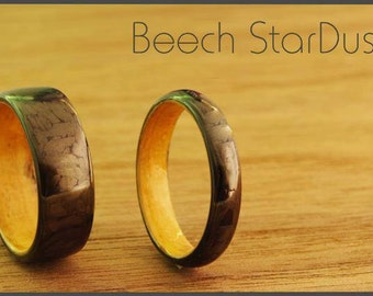 StarDust with Beech wood inlay. Carbon fiber ring. (1 ring)
