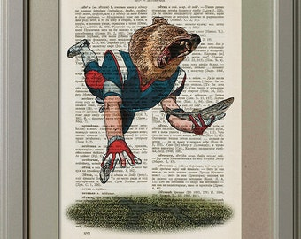 Jumping Bear, American Football Player, Catching a Fish, Bear Catching a Fish, Vintage Book Page Print, Old Dictionary Page Print