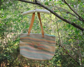 Oversized Native Woven Natural Fibers Beach Market Tote Bag