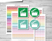 Movie Planner Stickers, Movie Printable Stickers PDF, Circle and Square Movie Icons Stickers - Instant Download // PS34