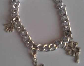 Lucky Hand Made Charm Bracelet with 3 Charms - Silver Plated