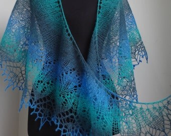shawl Hand Knit wool woman shawl - aqua colors - blue, green  Scarf Women Fashion Accessories  Gift For Her