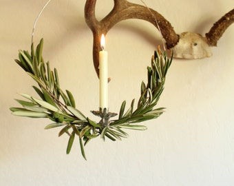 scandinavian olive branch wreath with vintage candle holder, minimalist wreath, fresh olive branch wreath, scandinavian holiday decor