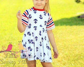 Girls Raglan Dress PDF Sewing Pattern for kids teens and tweens