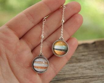 Solar system earrins, planet earrings, Galaxy earrings, nebula earrings, cosmic earrings, interstellar earrings