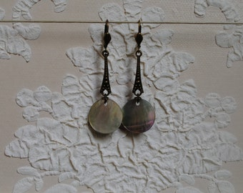 Sequin mother-of-pearl earrings