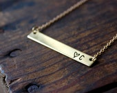 Personalized Gold Bar Necklace / Hand Stamped Gold Bar / Custom Necklace / Minimalist Necklace / Gold Toned Brass / Simple Everyday Necklace