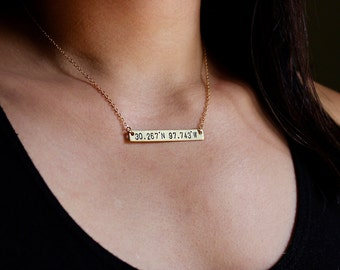 Custom Coordinates Necklace / Longitude Latitude Necklace / Gold Bar Necklace / Hand Stamped / Gold Toned Brass / Simple Everyday Necklace