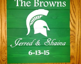 Personalized Spartans Wood Sign