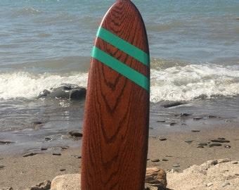 "Retro Vintage Handmade Mini Oak Skateboard Deck 22"""