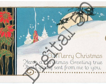 Christmas Hill Full Moon Postcard Digital Download