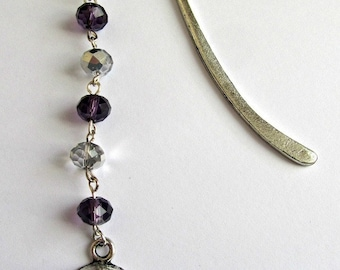 Skull black and clear crystal bookmark