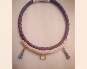 Fabric two tone necklace in earth tones