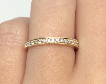 14k Yellow Gold Diamond Wedding Band 0.25 ct