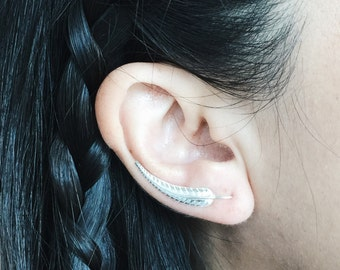 Sterling silver leaf ear crawlers, Silver ear climbers. Silver caeser leaf ear climbers, Minimalist jewellery, Minimal silver earrings (C13)