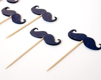 Set of 12 Mustache Cupcake Toppers , Birthday Topper , Boy Birthday Party , Mustache party , Little Man Birthday Party , Bachelorette party