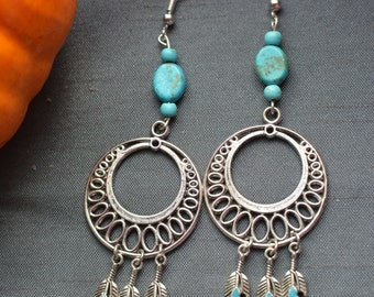 Earrings, beads blue turquoise and feathers metal